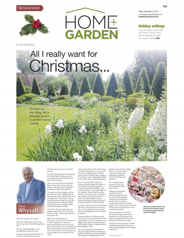 Vancouver Sun - In the Garden (Print): Dec. 13, 2013