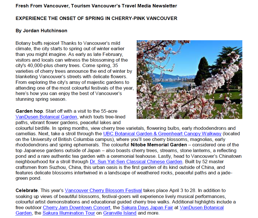 Fres From Vancouver, Tourism Vancouver's Travel Media Newsletter, 2014