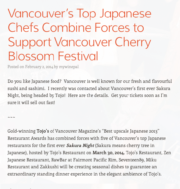 Vancouver's Top Japanese Chefs Combine Forces to Support Vancouver Cherry Blossom Festival February 2, 2014