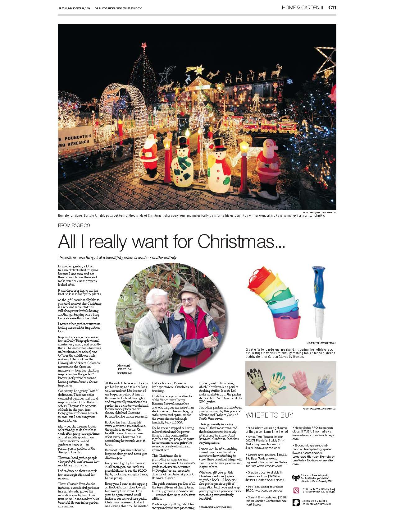 Vancouver Sun - All I want for Christmas (Print): Dec. 13, 2013