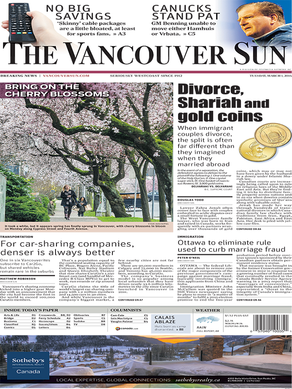 Vancouver Sun - March 1, 2016
